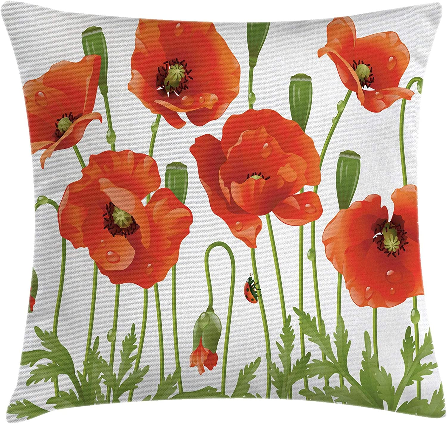 Ambesonne Flower Throw Pillow Cushion Cover, Spring Wild Flower Poppy Ladybug Leaf Springtime Garden Nature Backyard Print, Decorative Square Accent Pillow Case, 16