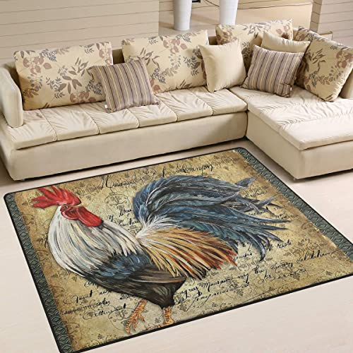 Awesome Rooster Chicken Area Rug 5'x 7'