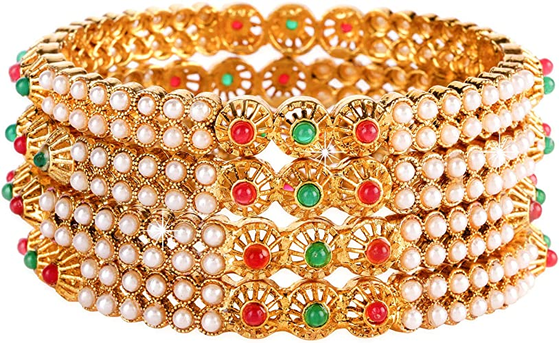 Gold Tone Bangle Bracelet Pearls Indian Bollywood Costume Jewelry New Designer