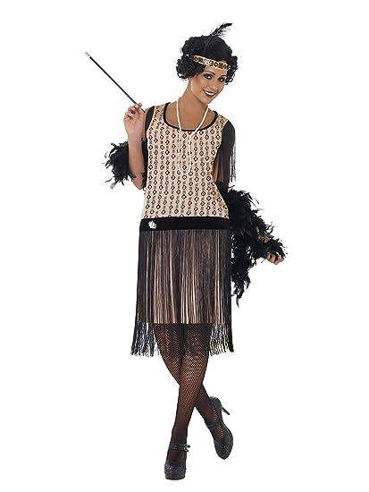 Smiffys Smiffys- Disfraz de Chica Coco a la Moda de los años 20, Vestido, Boquilla, Collar y Adorno para el Pelo, Color Rosado, M - EU Tamaño 40-42 ...