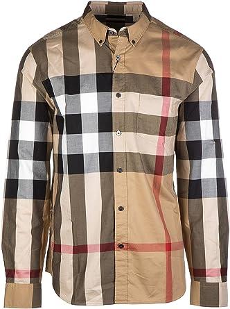 Burberry Brit Check Camisa de algodón con Botones para Hombre - Beige - XX-Large: Amazon.es: Ropa y accesorios