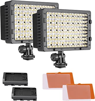 LED Video Light Panel On-Camera Video Studio Fill Light Panel with Hot Shoe Mount for Shooting Interview Live Broadcast US Plug 160 Beads Dimmable 3200-6000K CRI 90