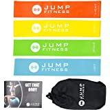 Resistance Gym Loop Bands Set of 4 Exercise Bands by Jump Fitness, FREE eGUIDE. Improves strength, muscle tone. Suitable for at Home Gym Training. Great for defined legs, glutes and butt. Pilates, Yoga, rehabilitation