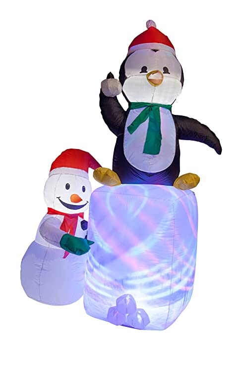 Pingüino y muñeco hinchable de patinaje con luces LED de Navidad ...