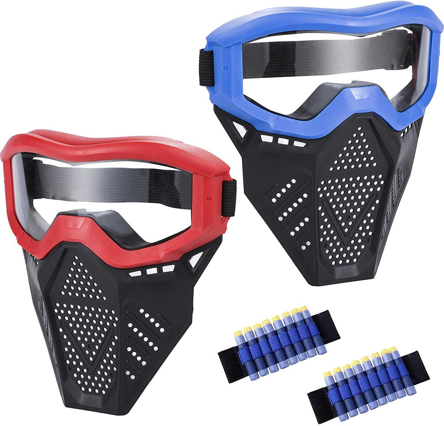 MeimoS 2 Pack Tactical Face Shield Mask Protective Goggles – Eye Protection for Kids Red and Blue - Compatible with Nerf Rival, Apollo, Zeus, Khaos, Atlas, Artemis, and N-Strike Elite Blasters (B&R)