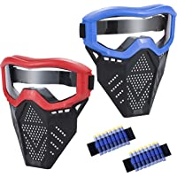 MeimoS 2 Pack Tactical Face Shield Mask Protective Goggles – Eye Protection for Kids Red and Blue - Compatible with Nerf…