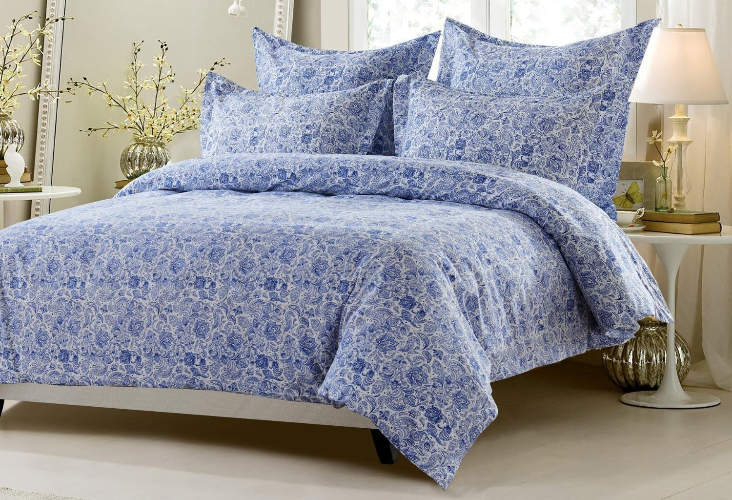 6pc Navy White Paisley Bedding Set