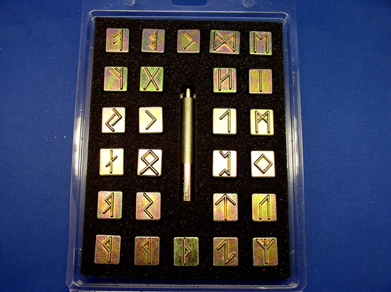 Tandy Leather Factory Runic / Celtic Alphabet Stamp Set 3/4'' (with Stamping Handle), Brass Type Color