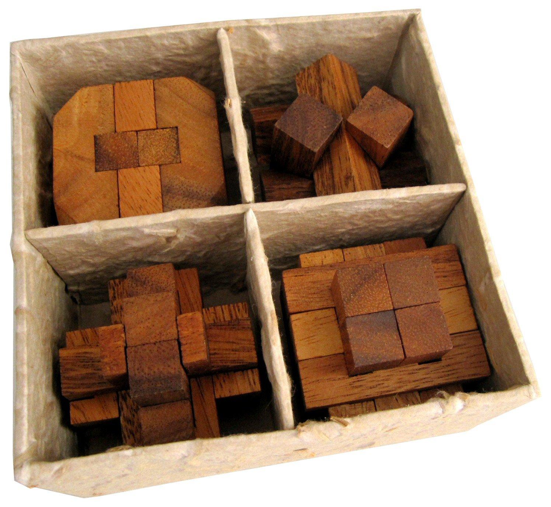 4 Knobelspiele im Set - Spielesammlung 3D Puzzle - Denkspiele - Knobelspiele - Geduldspiele - Logikspiele in einer dekorativen Geschenkbox Logoplay Holzspiele
