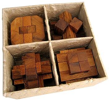 4 Knobelspiele im Set 3D Puzzle Holz Würfel Denkspiele Geduldspiele Geschenkbox Puzzles & Geduldspiele