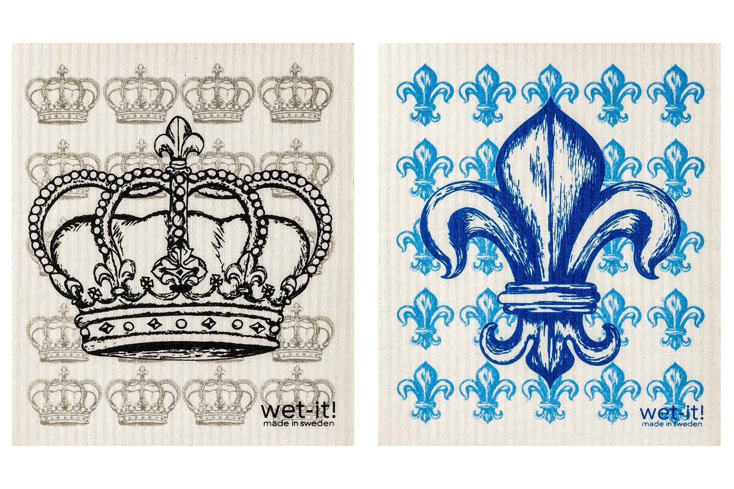 Amazon.com: Wet-It Swedish Dishcloth Set of 2 (Fleur de Lis and ...
