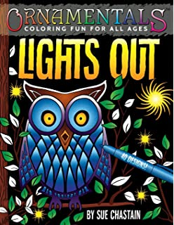 OrnaMENTALs Lights Out 40 Lighthearted Designs To Color With Dramatic Black Backgrounds Volume 6