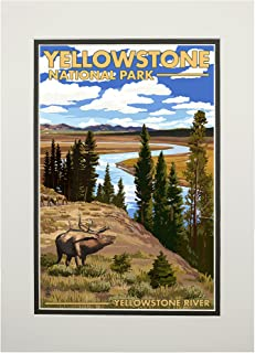 product image for Yellowstone National Park, Wyoming - Yellowstone River and Elk (11x14 Double-Matted Art Print, Wall Decor Ready to Frame)