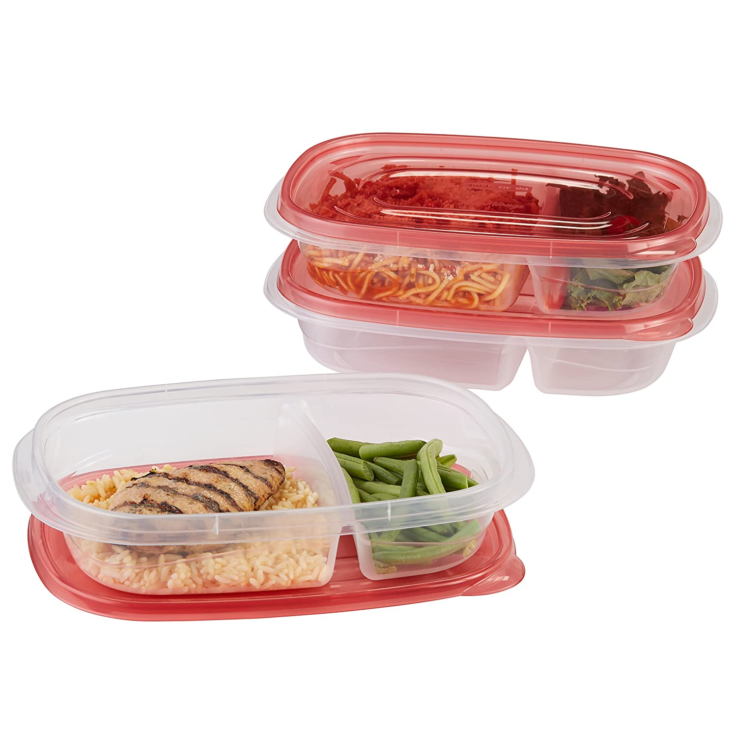 Rubbermaid TakeAlongs Food Storage Container Divided Dishes Set of