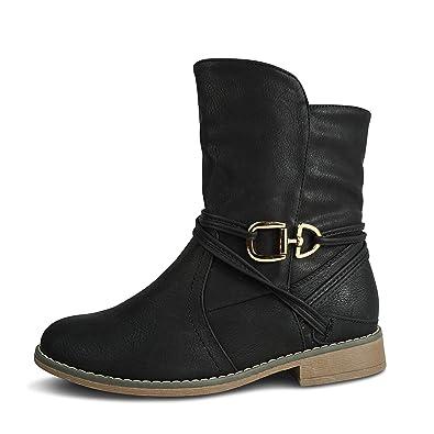 93d675b0c718 Damen Schlupfstiefel Stiefeletten Stiefel Boots leicht gefüttert ST535 (37,  Schwarz)
