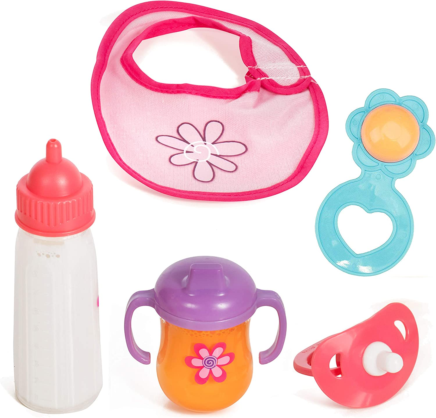 Mommy & Me Baby Doll 5Piece Feeding Set - Includes A Magic Disappearing Milk Bottle & Sippy Cup