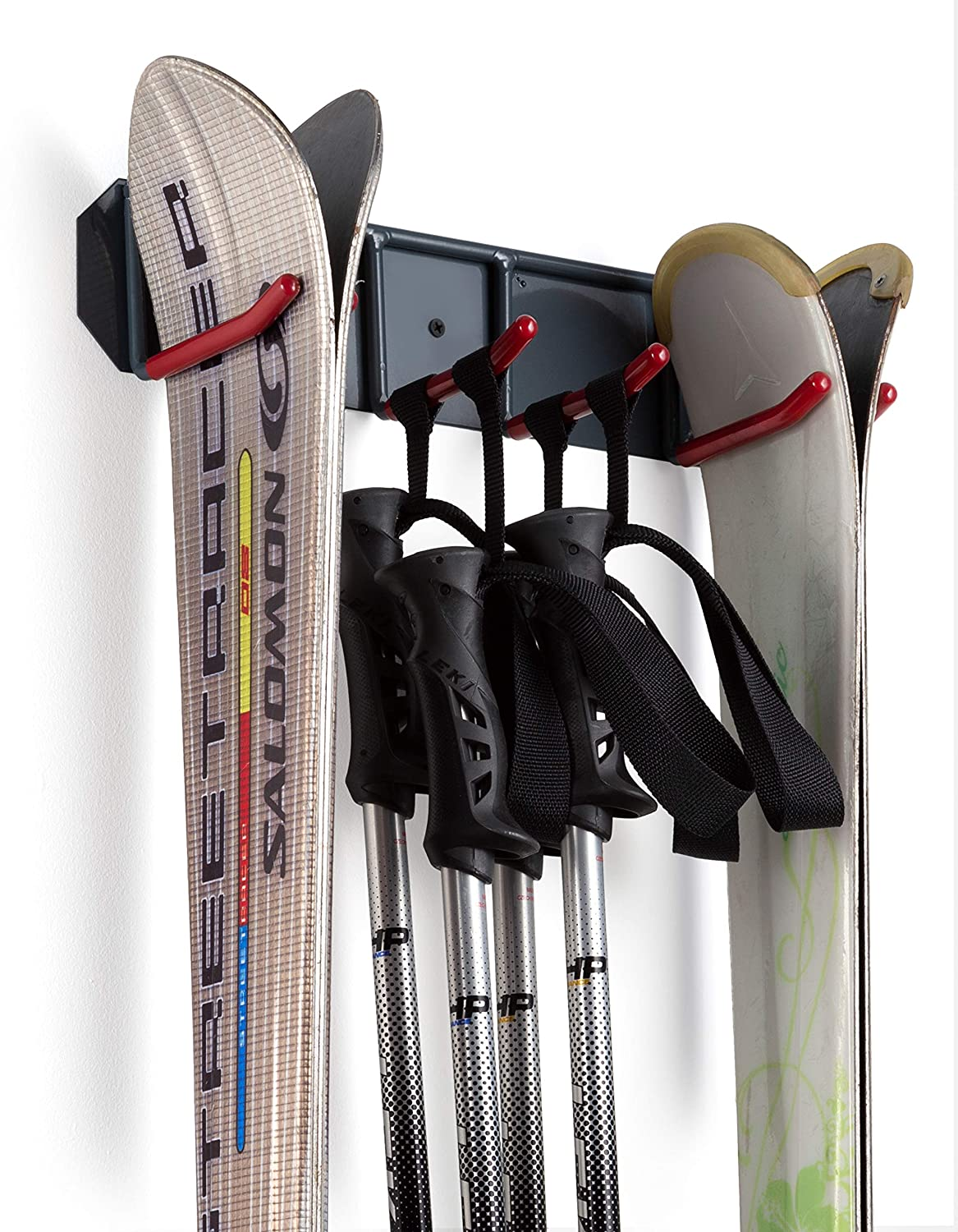 e5a5ec86829 Wall Mounted Storage Rack Organizer for Skis and Poles - Heavy Duty  Horizontal Wall Ski Rack Storage with Metal Frame and Padded Hooks -  Indoors