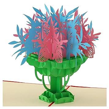 Amazon.com: Tarjeta Popup, ramo floral, tarjeta 3D, tarjeta ...