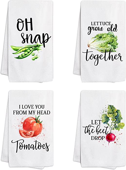 pinata Funny Kitchen Towels with Sayings, Vegetable Dish Cloths Sets of 4, Housewarming Gifts for New Home, Kitchen Dish Towels for Drying Dishes - Tea Towels, Hand Towels for Kitchen
