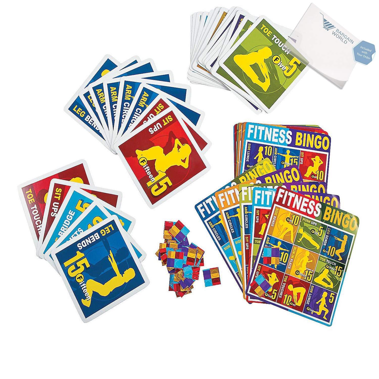 Bargain World Cardboard Fitness Bingo (With Sticky Notes)