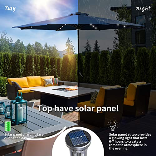 KOOLWOOM 9ft Solar LED Lighted Patio Umbrella with Crank and Manual Tilt,Outdoor Umbrella with Fade Resistant Water Proof Fabric and Push Button Without Base Navy Blue
