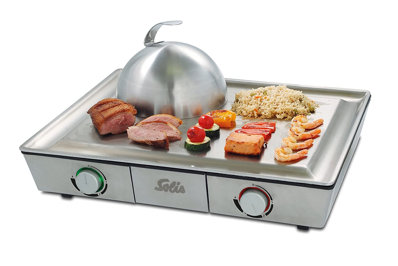 Bester Elektrogrill 2018 Schweiz : Solis tischgrill edelstahl grillplatte teppanyaki glocke zwei