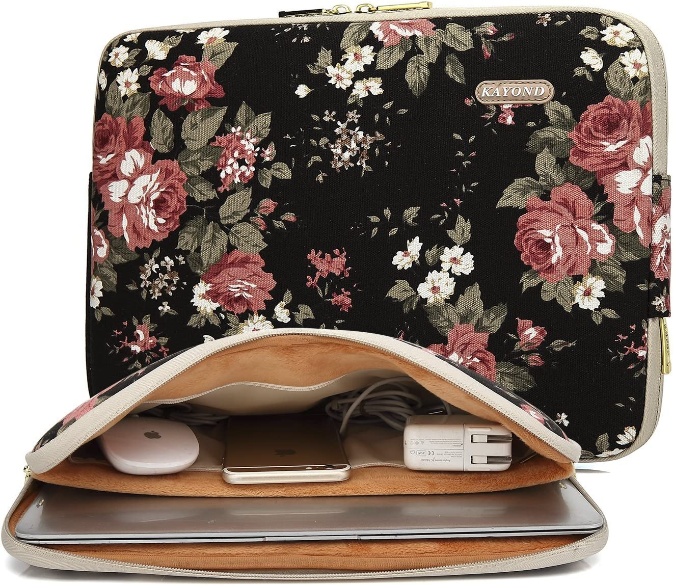 kayond Water-Resistant Canvas 15.6 Inch Laptop Sleeve-Black C Rose