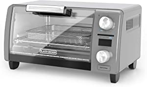 "BLACK+DECKER TOD1775G Crisp 'N Bake Air Fry Digital Toaster Oven, 9"" Pizza or 4 Slices of Bread, Gray"