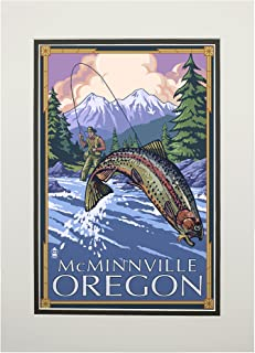 product image for McMinnville, Oregon Fisherman (11x14 Double-Matted Art Print, Wall Decor Ready to Frame)