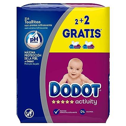 Dodot Activity Toallitas - Paquete de 4 x 54 Toallitas - Total 216 ...