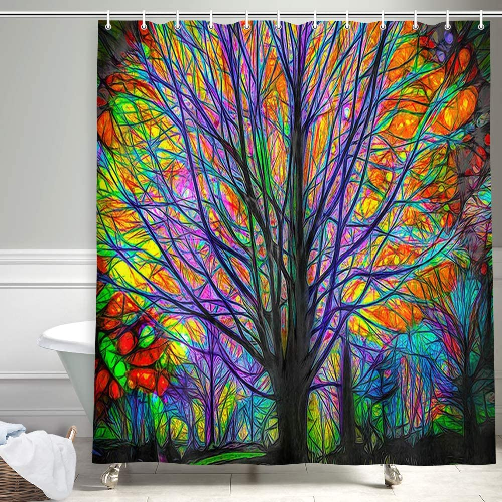 "NYMB Creative Trees Decoration Bath Curtain, Colorful Watercolor Spring Life Tree Shower Curtain, Life of Tree Fabric Shower Curtains for Bathroom, Hooks Included, (60"" WX70 H)"
