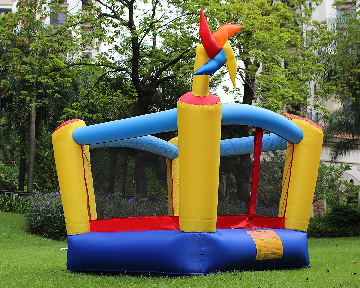 BestParty Inflatable Bounce House Castle Slide Inflatable Bouncer House Jumper Bouncy House Without Blower