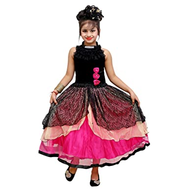 1672a6e23 Roop Trading Co Girls net Material Long Frock Style Black Colour ...