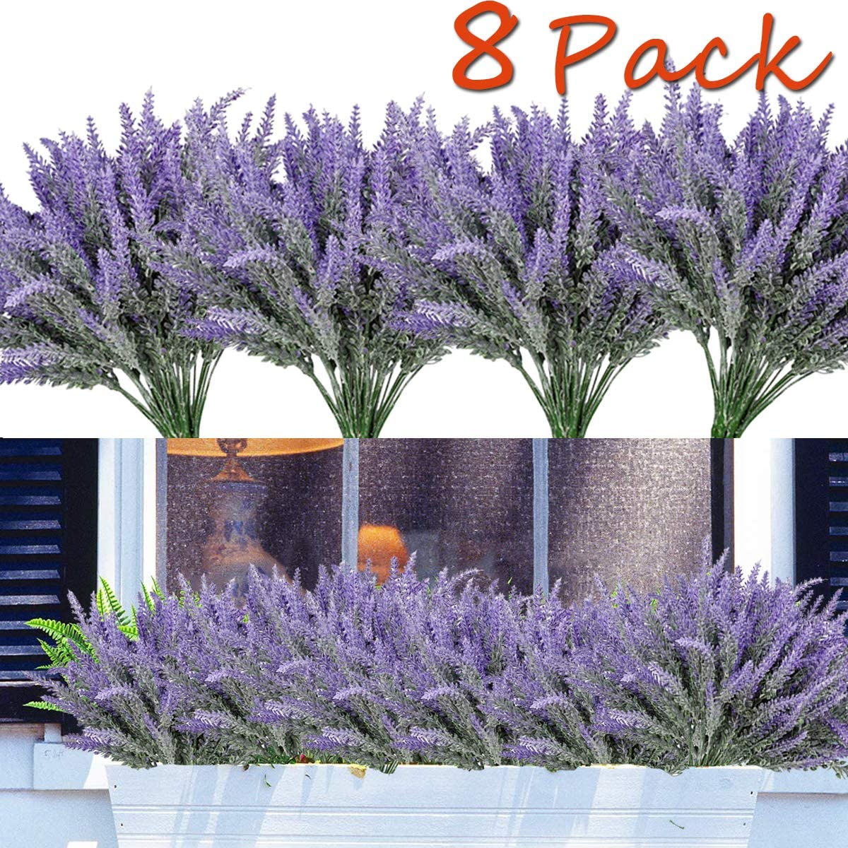 TURNMEON 8PCS Artificial Flowers Outdoor UV Resistant Plants,8 Branches Faux Plastic Lavender Greenery Shrubs Plants Indoor Outside Hanging Planter Kitchen Home Wedding Office Garden Decor (Purple)