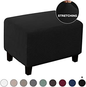 Turquoize Stretch Ottoman Slipcover Stretch Storage Ottoman Slipcover Protector Spandex Elastic Rectangle Footstool Sofa Slip Cover for Foot Rest Stool Furniture in Living Room (Ottoman, Black)