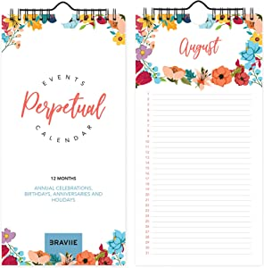 """Beautiful Perpetual Calendar for Birthdays and Anniversaries - Convenient 5""""x10"""" Size Will Last for Years, Wall or Desktop Calendar - Never Be Embarrassed by Forgetting an Important Event Again"""