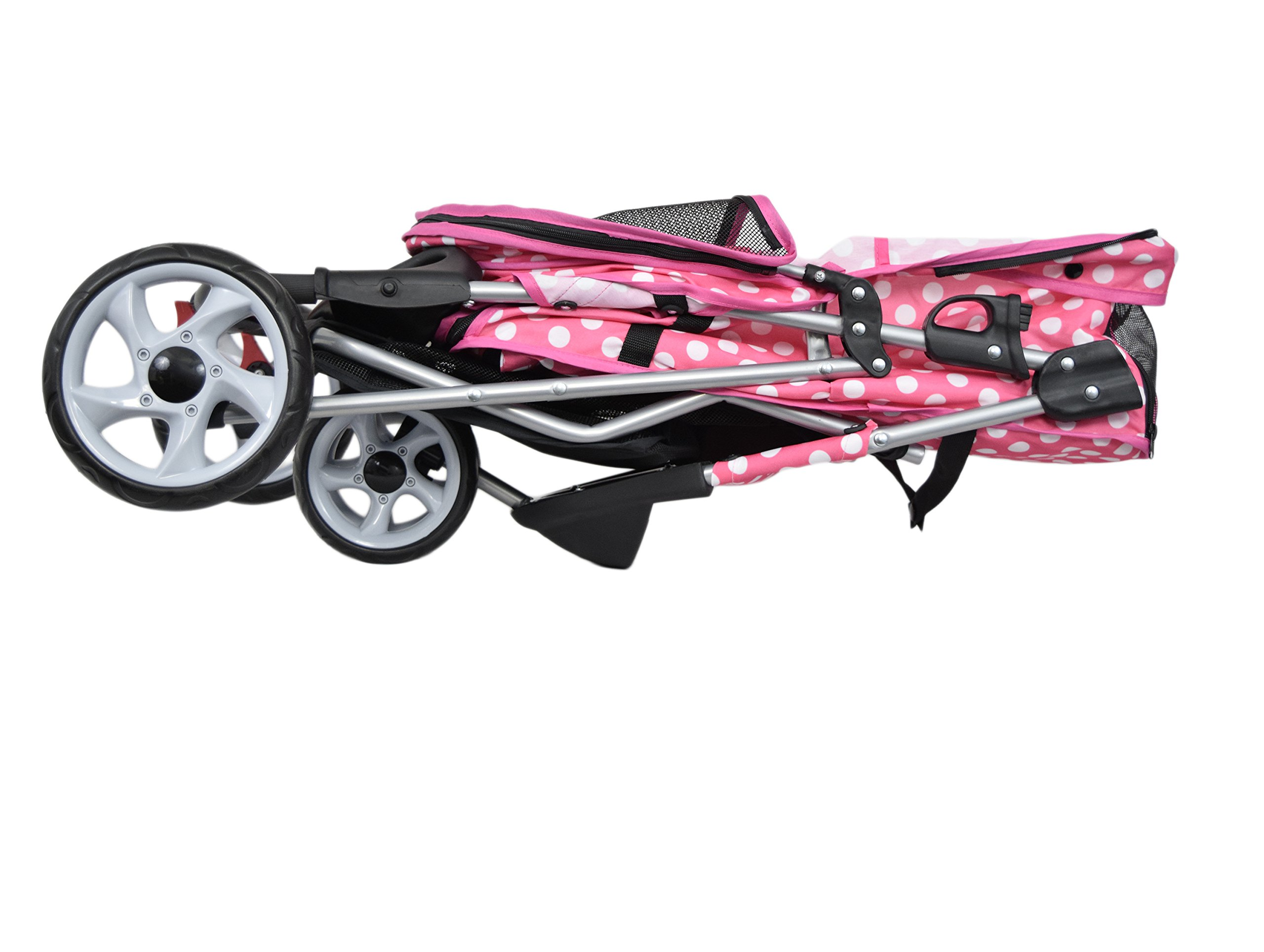 VIVO Three Wheel Pet Stroller, for Cat, Dog and More, Foldable Carrier Strolling Cart, Multiple Colors (Pink & White Polka Dot) by VIVO (Image #7)