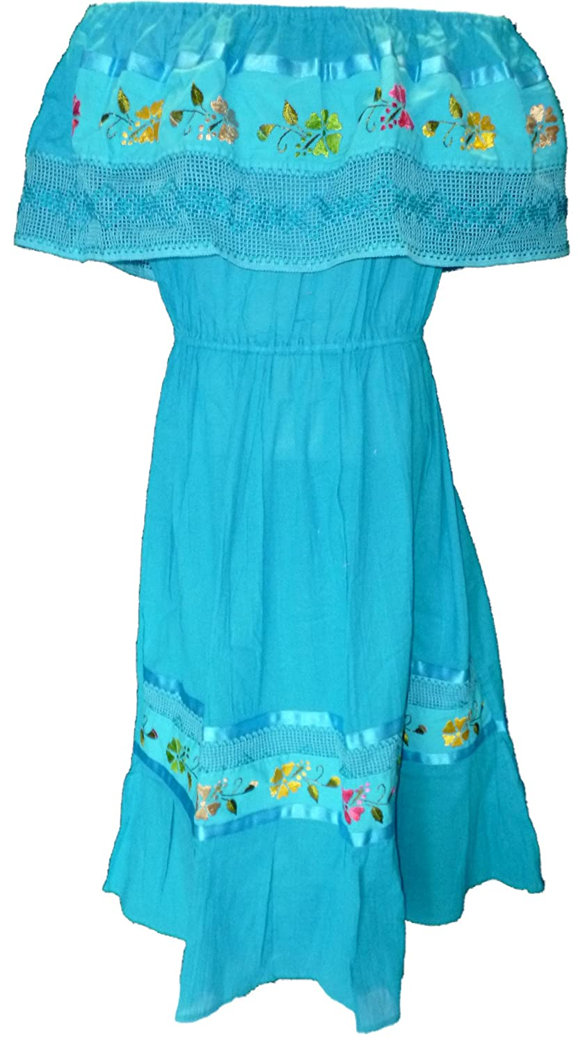 Women's Turquoise Mexican Puebla Crochet Off-Shoulder Dress (Medium - XL) - DeluxeAdultCostumes.com