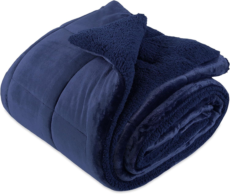 Berkshire Blanket, VelvetLoft and Sherpa Reversible Comforter and Sham Set, Full/Queen, Navy