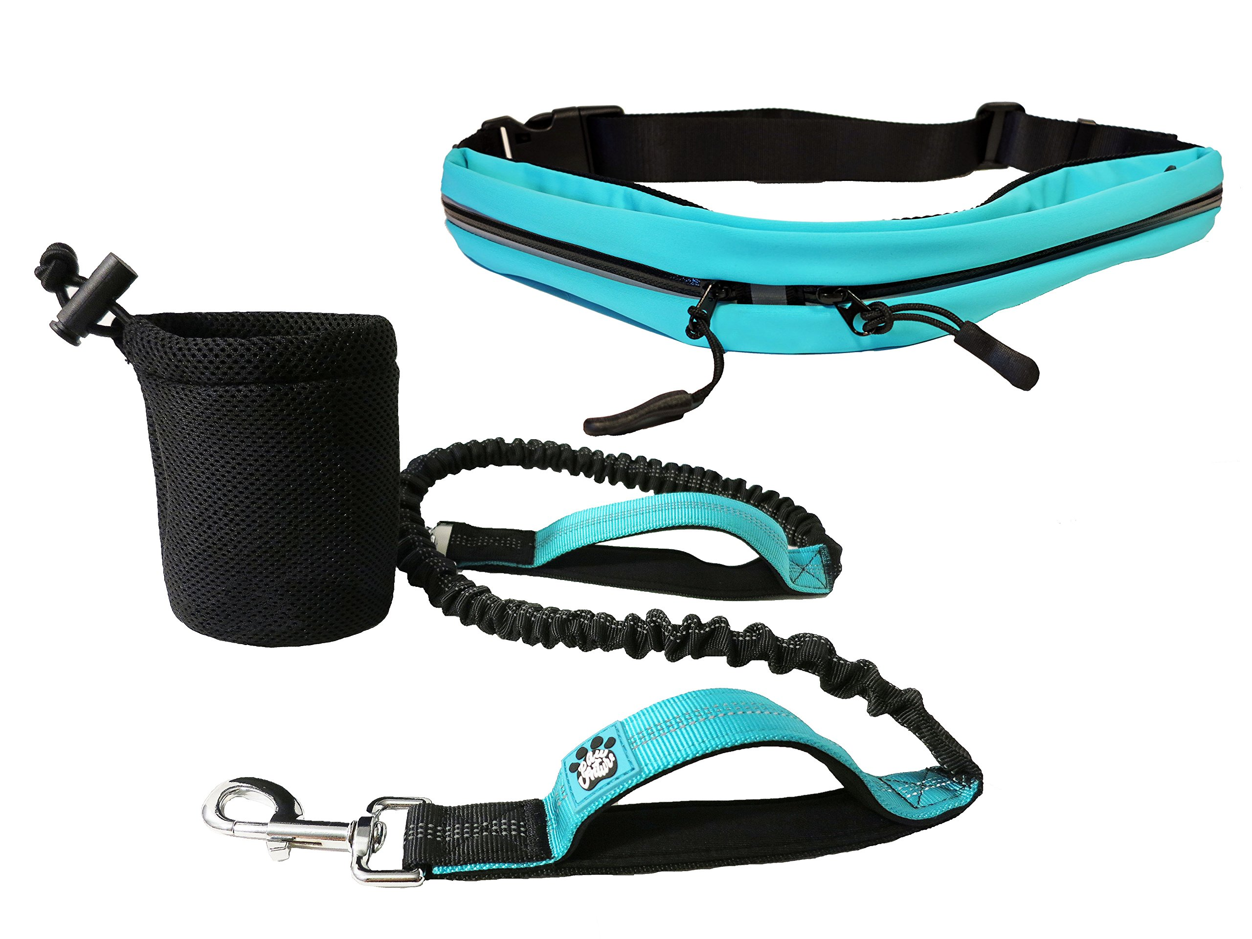 Hands Free Dog Leash Bungee   Running, Walking, and Training Belt for Medium to Large Dogs  Two Padded Handles, Waterproof Pouch for Smartphone and Bottle Holder