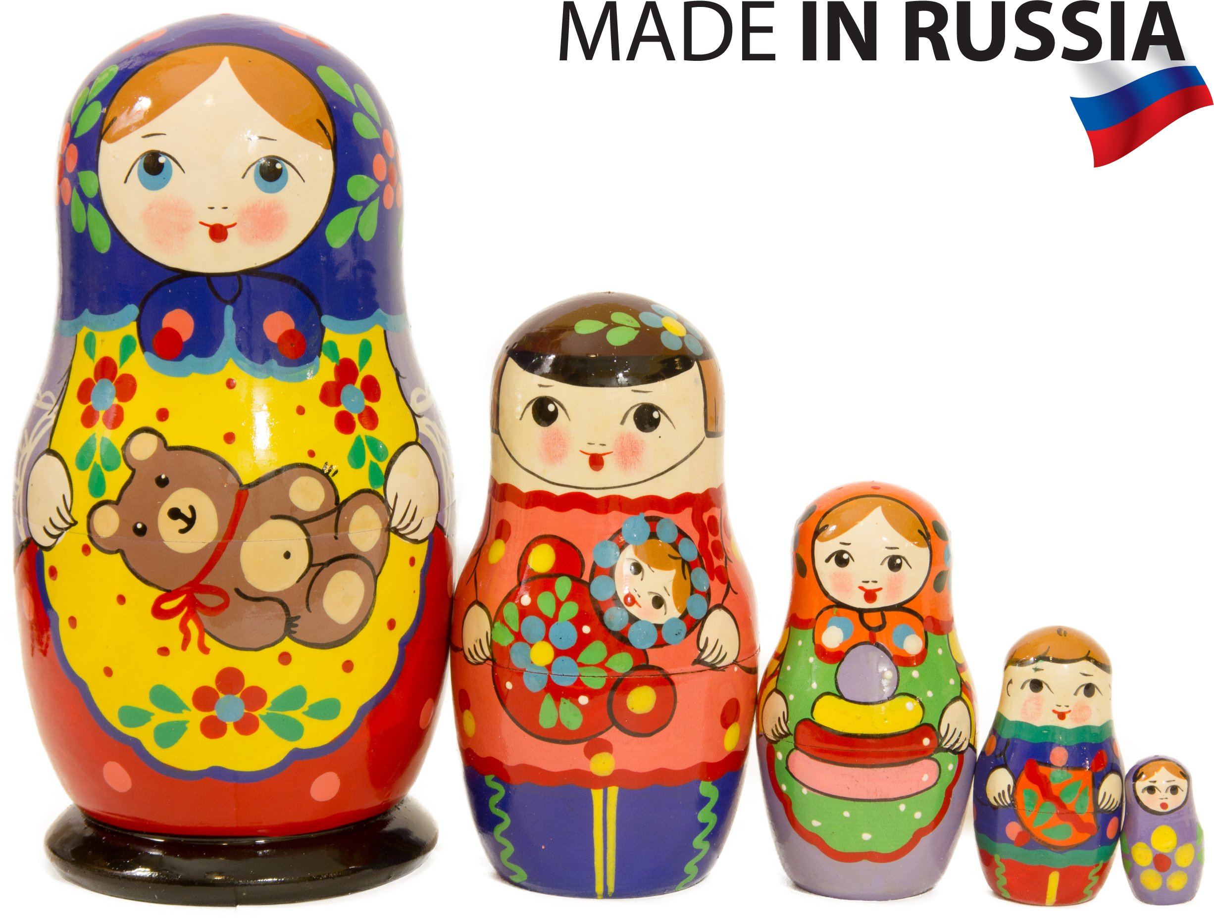 Russian Nesting Doll - ''Russian Country Kids'' - Hand Painted in Russia - color/size variations - Wooden Decoration Gift Doll - Traditional Matryoshka Babushka (5.75`` (5 dolls in 1),Design A Blue)