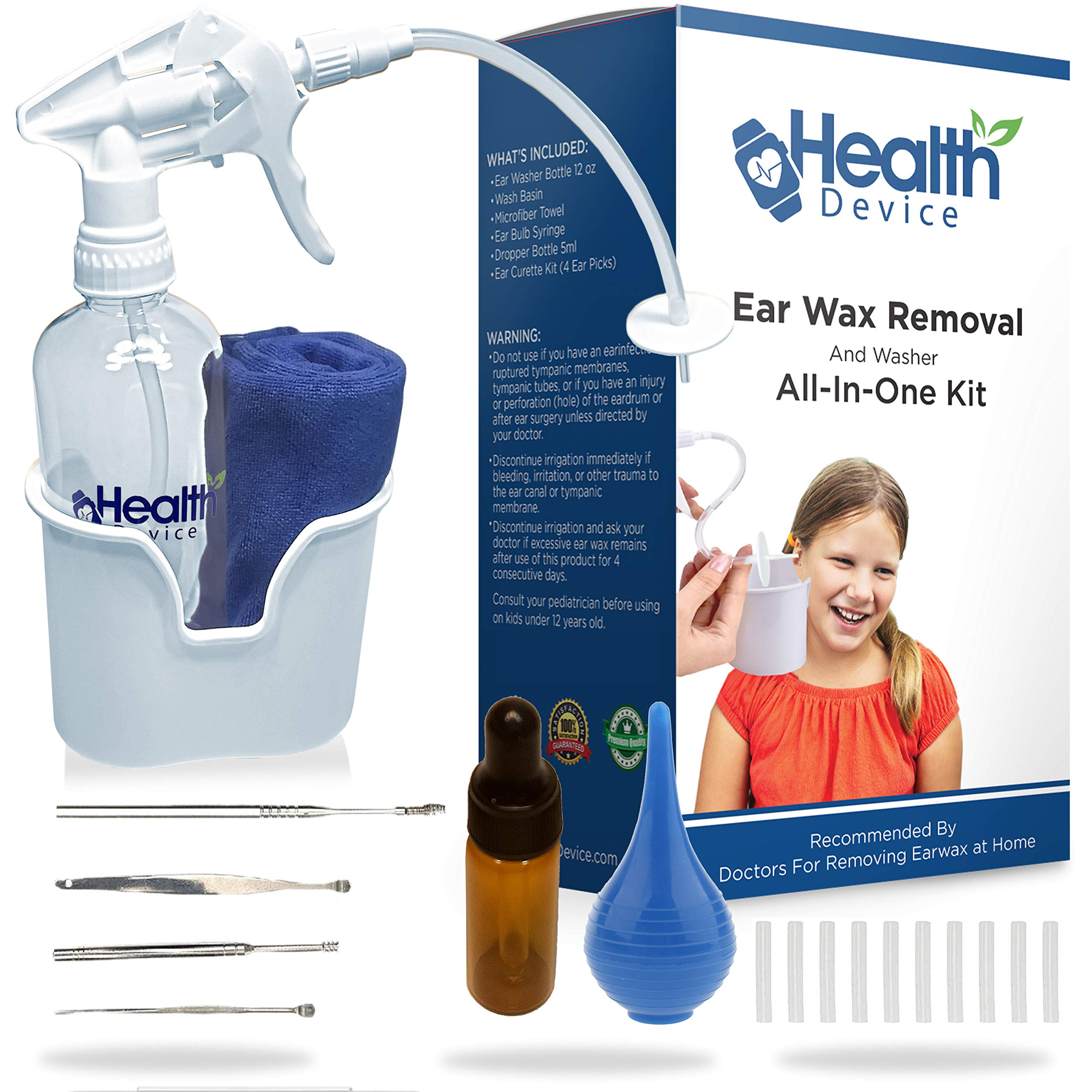 All-in-One Ear Wax Removal Kit: Ear Irrigation Spray Bottle, Wash Basin, Ear Pick Curette Tools, Ear Bulb Syringe, Dropper Bottle, Cleaning Towel & Extra Tips - Improves Hearing for Adults & Kids