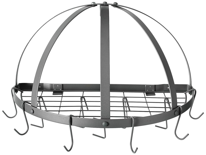 "Old Dutch Half-Round Pot Rack with Grid & 12 Hooks, Graphite, 22"" x 11"" x 12"""