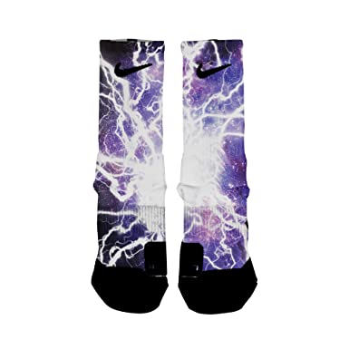 31163349f89 HoopSwagg Lightning Galaxy Custom Elite Socks, Multi, Small at ...