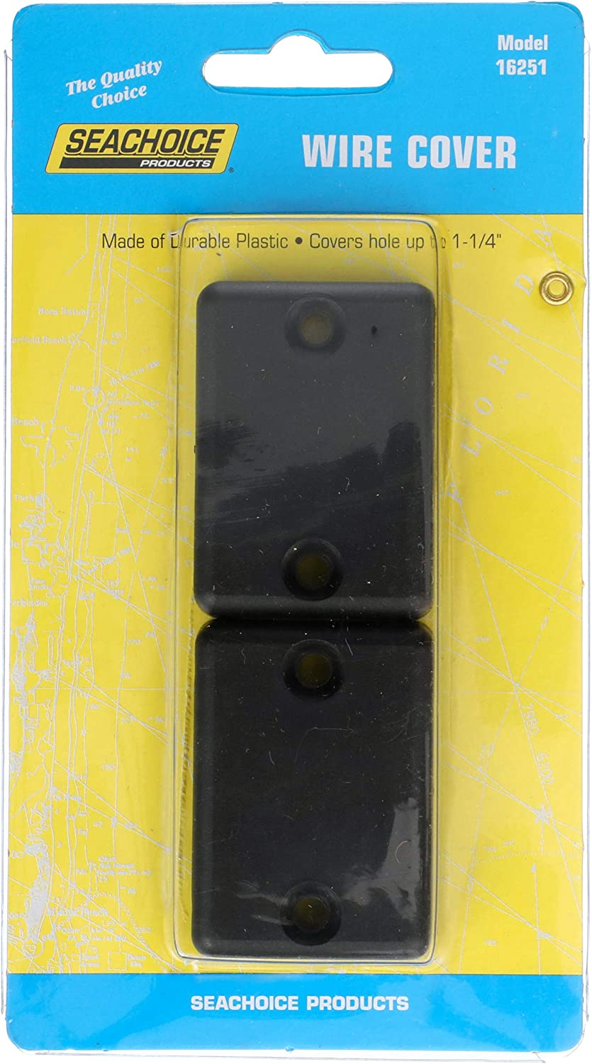 """2-Pack SeaChoice 16251 Black Plastic Wire or Cable Covers for Holes up to 1-1//4/"""""""