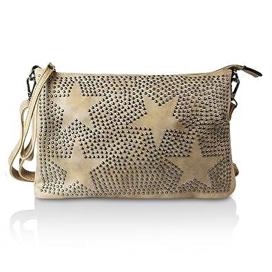 5af377a805d9a Glamexx24 Damen Handtaschen Clutches Tasche Schultertasche Umhaengetasche  mit Stern Muster o Totenkopf Tragetasche