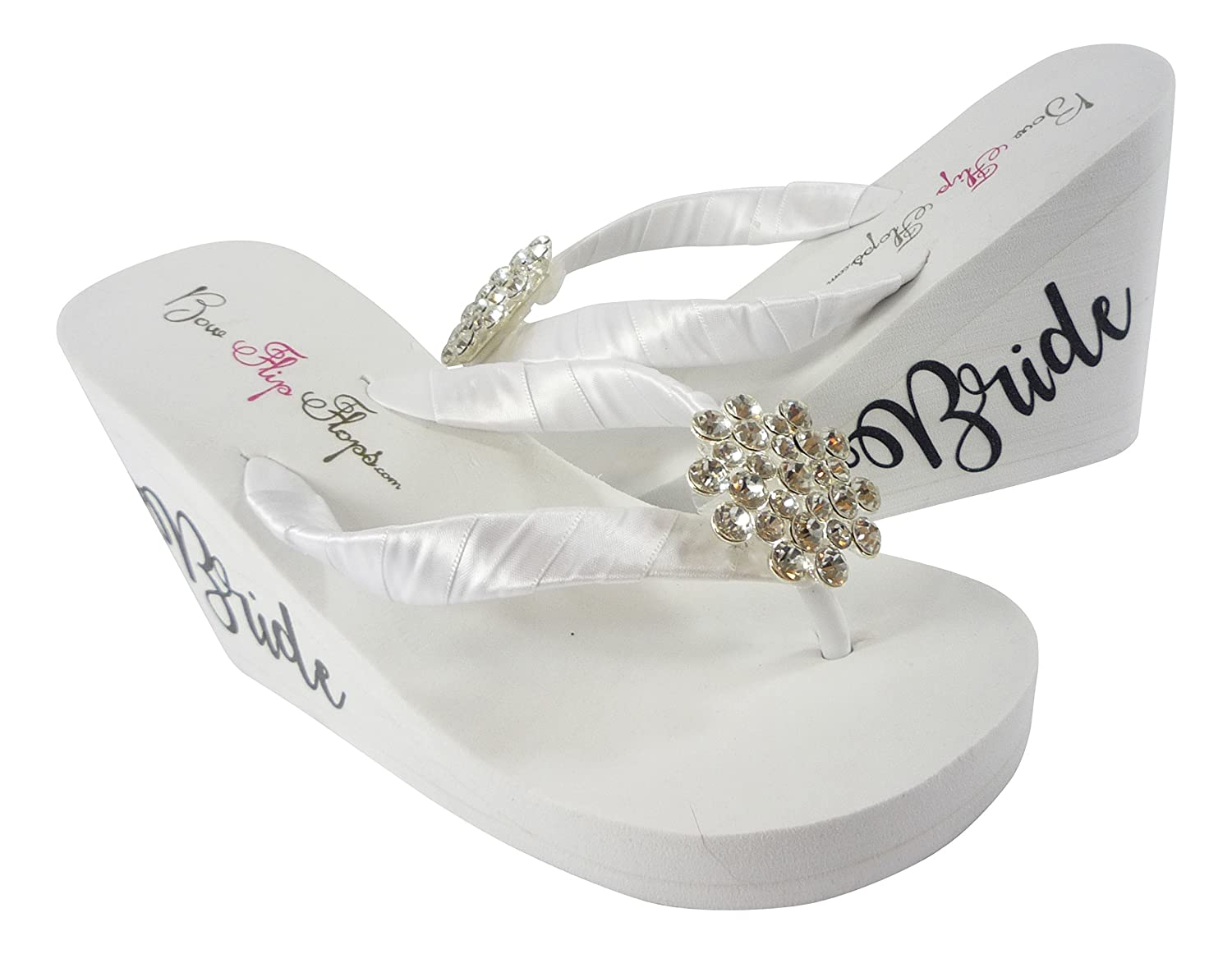 42655436d6969 Amazon.com  Jeweled Wedge Flip Flops with Fancy Bride scrip on the sides-  black and white  Handmade
