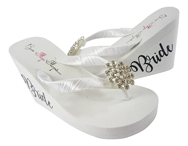 3b5f4affa7da5 Jeweled Wedge Flip Flops with Fancy Bride scrip on the sides- black and  white