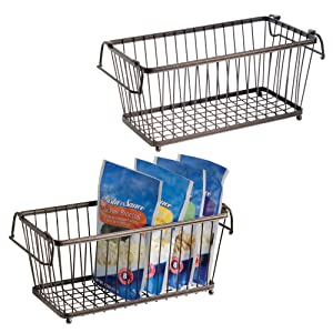 "mDesign Household Stackable Metal Wire Storage Organizer Bin Basket with Built-in Handles for Kitchen Cabinets, Pantry, Closets, Bedrooms, Bathrooms - 12.5"" Wide, 2 Pack - Bronze"