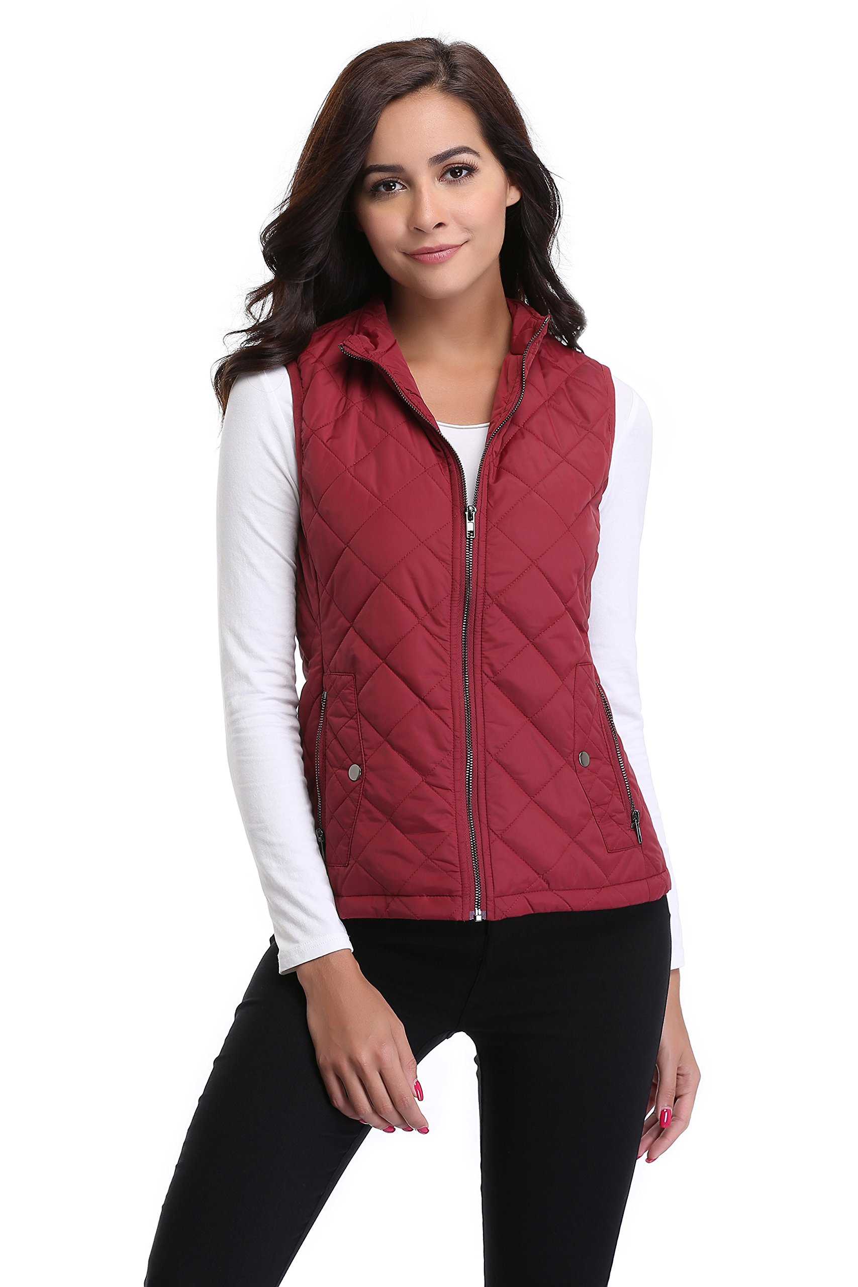 MISS MOLY Women Lightweight Quilted Padded Vest Stand Collar Zip Up Front Gilet Quilted,Red,X-Large